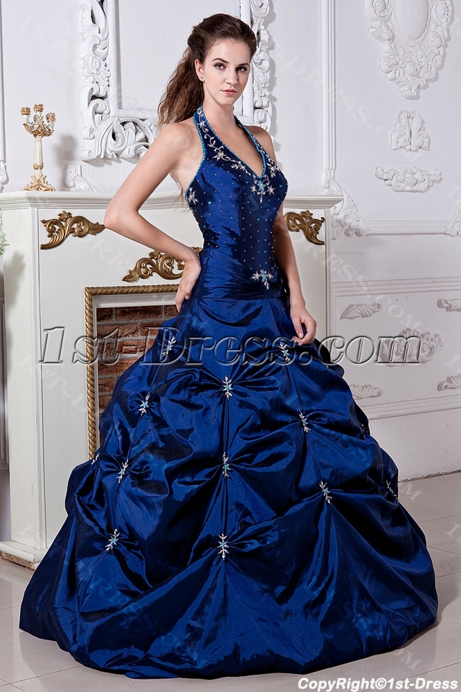 27b429f55201 Halter Pretty Royal Blue Ball Gown Quinceanera Dress with Embroidery  IMG_1945 (Free Shipping)
