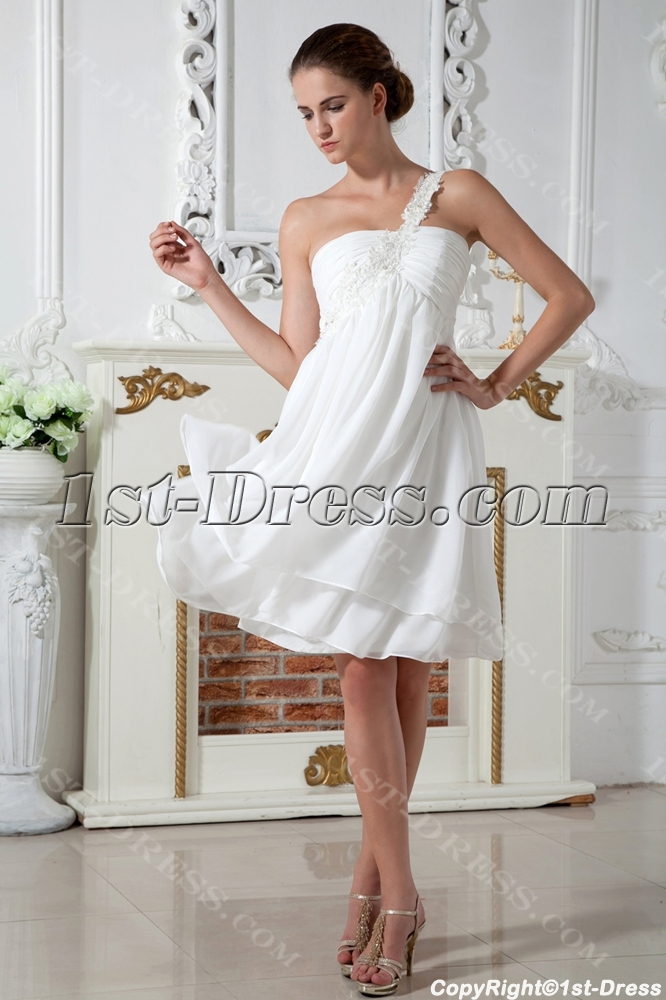 Ivory Simple One Shoulder Short Maternity Wedding Dress IMG_1969:1st ...