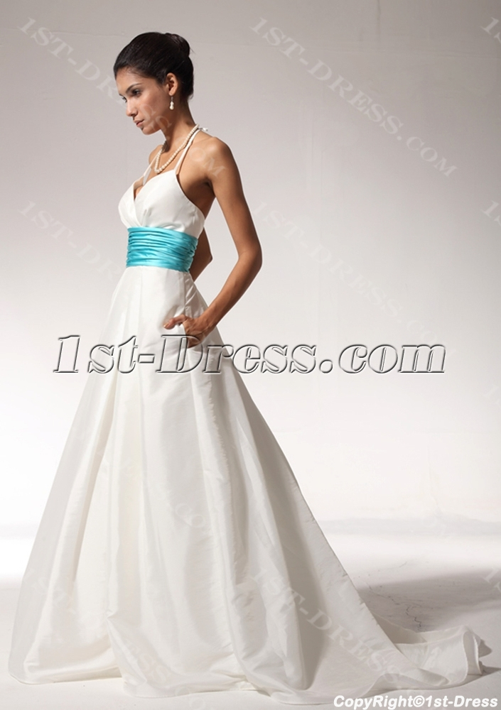 Ivory And Turquoise Halter Princess Bridal Wedding Dress With Pocket  Bdjc891408. Loading Zoom