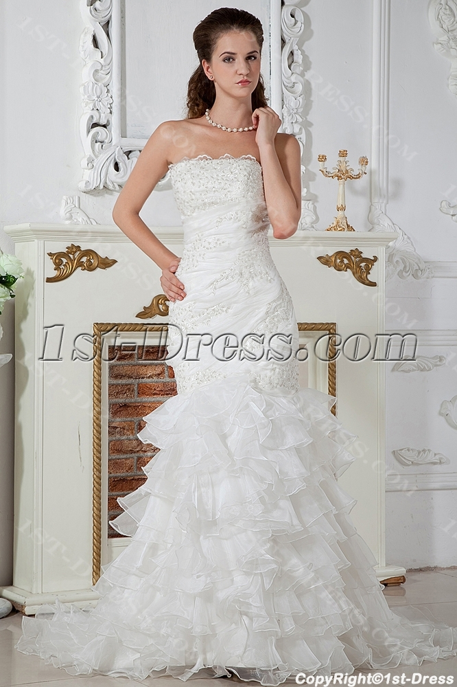Luxurious Strapless Mermaid Style Wedding Dresses