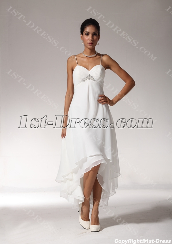 Sexy High-low Hem Casual Beach Wedding Dresses