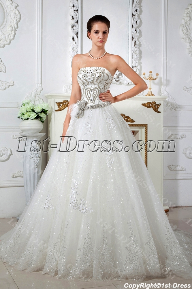 Shine Strapless Princess Ball Gown Wedding Dresses Img