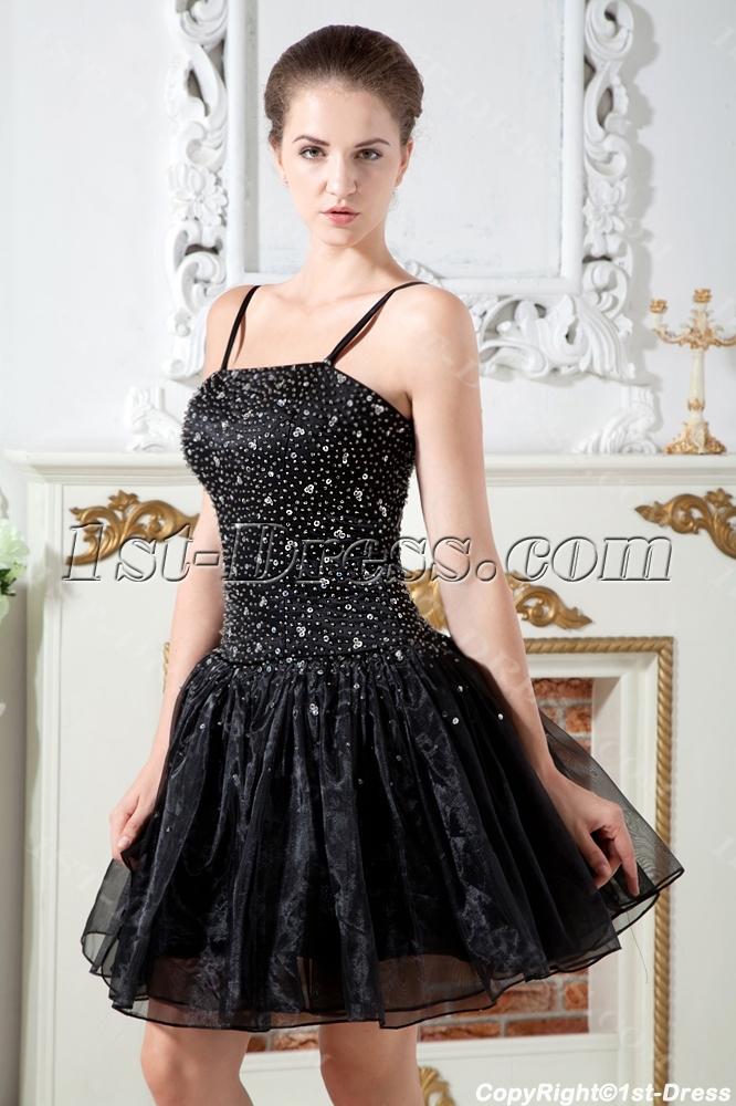 Spaghetti Straps Black Mini Sweet 16 Dresses IMG_1791:1st-dress.com