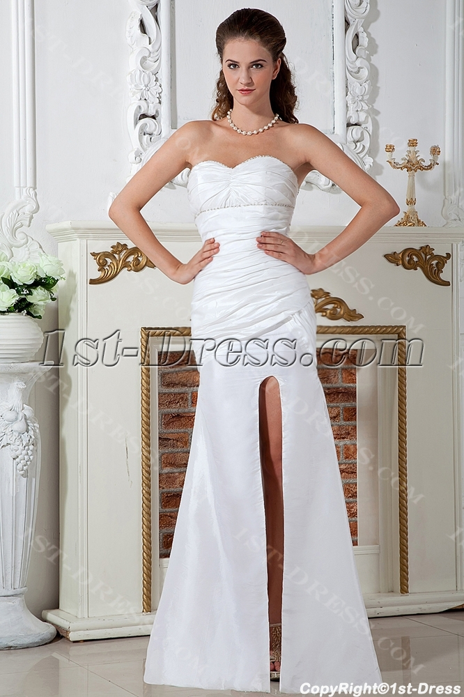 Split front ivory sweetheart casual beach wedding dresses for Casual flower girl dresses for beach wedding