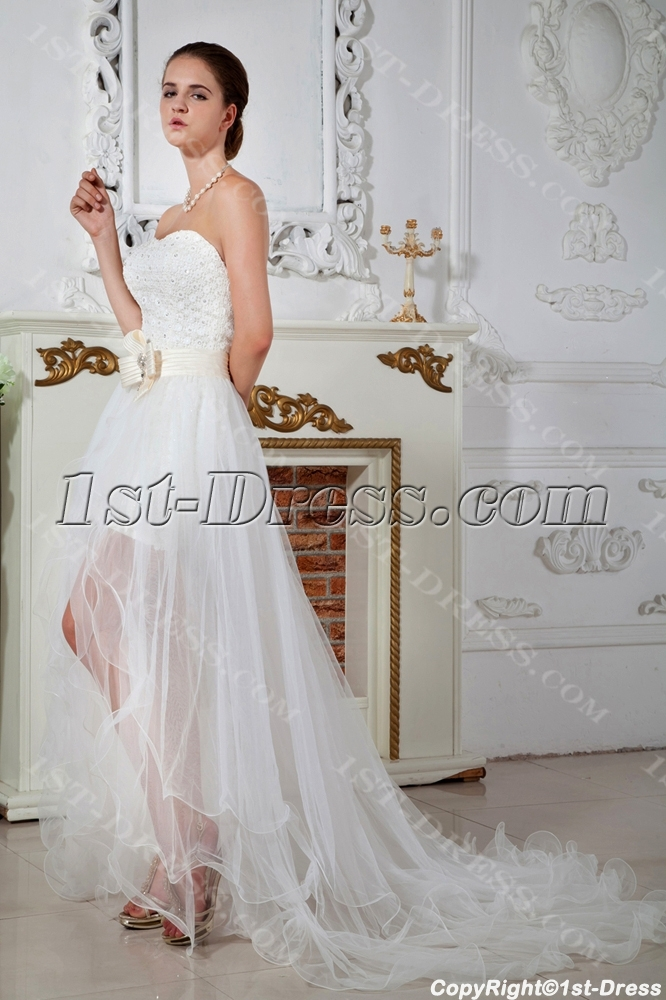 Strapless High Low Wedding Dresses 2013 with Front Split IMG_1679 ...