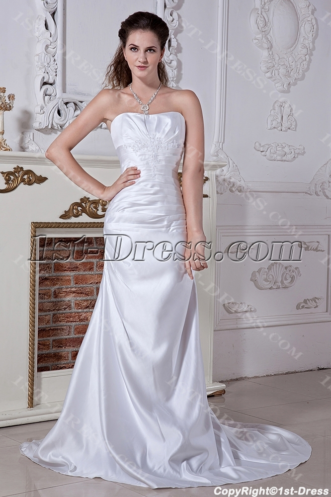 Strapless simple affordable bridal gown with corset back for Simple corset wedding dresses