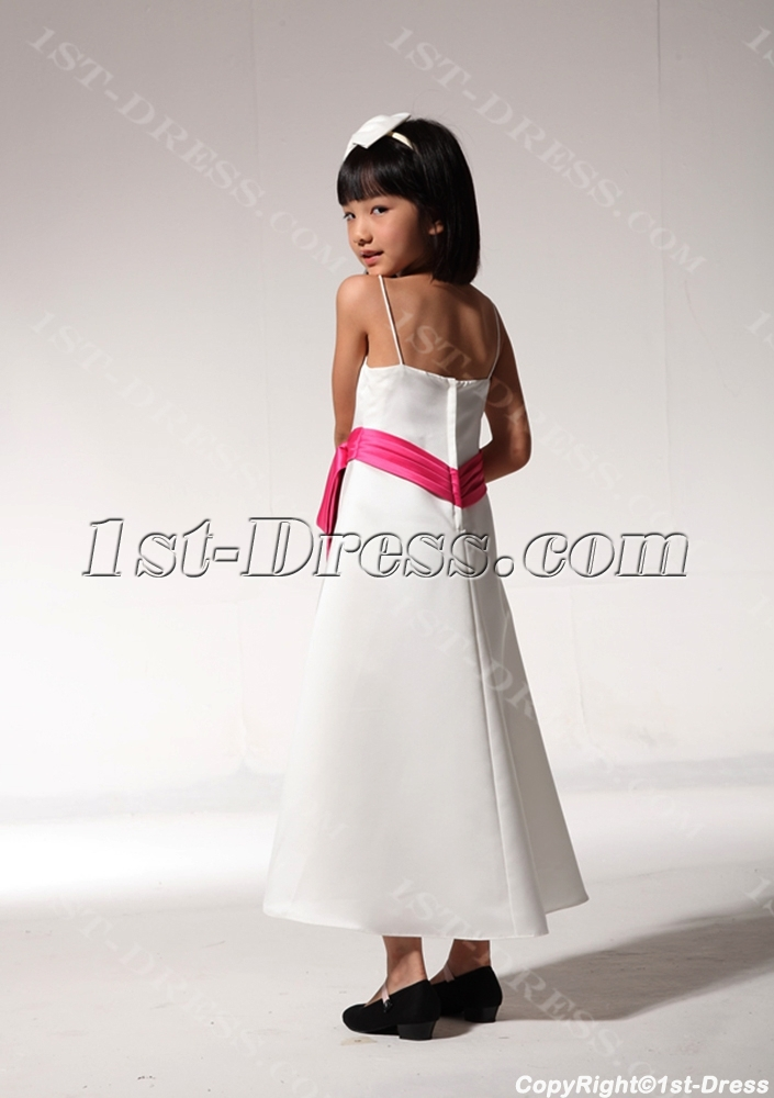 Tea Length Cheap Formal Girl Party Dress With Hot Pink Sash Fgjc890509 Free Shipping