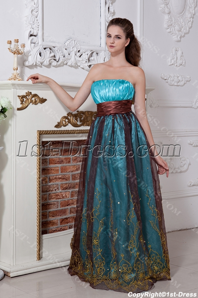 Turquoise and Brown Plus Size Ball Gown Dress IMG_1826