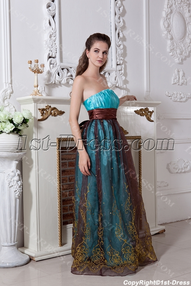 Turquoise and Brown Plus Size Ball Gown Dress IMG_1826:1st-dress.com