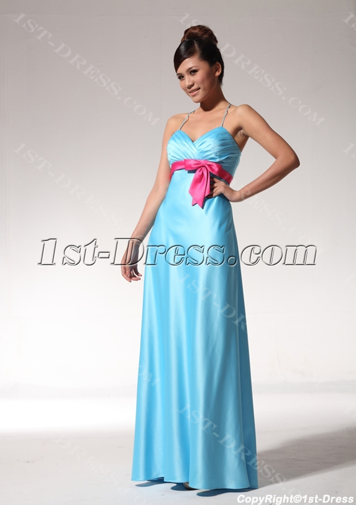 Turquoise and Hot Pink Modern Beach Bridesmaid Dresses bmjc890208 ...