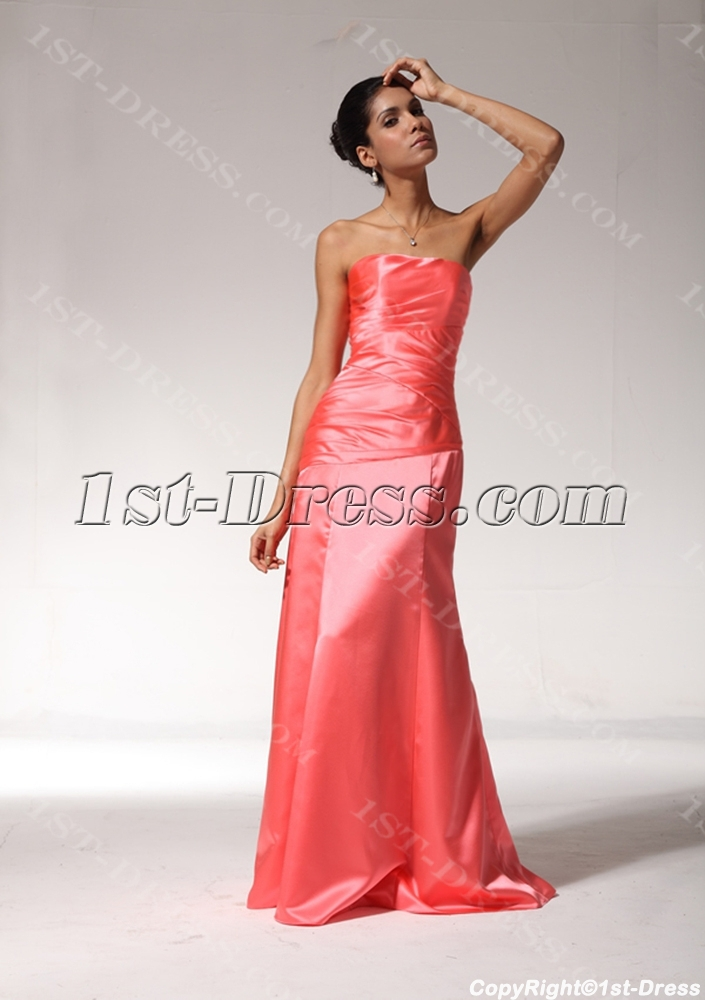 Water Melon Strapless Formal Evening Dress with Corset Back ...
