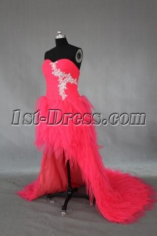 Red Long / Floor-Length Satin Tulle Prom Dress IMG_0246