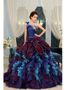 Blue One Shoulder Long / Floor-Length Taffeta Organza Quinceanera Dress H-112