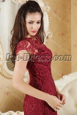 2012 Ankle Length Burgundy Modest Celebrity Dress with Cap Sleeves IMG_5345
