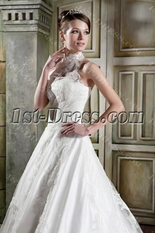 Antique Lace Long A-line Halter Bridal Gown GG1084