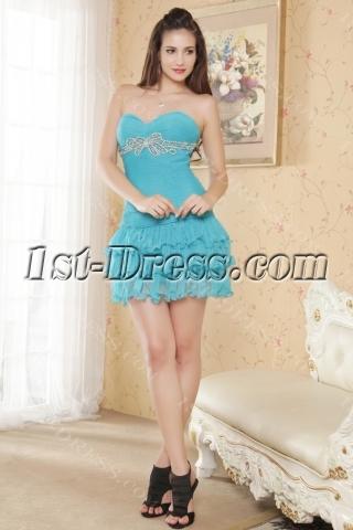 Aqua Blue Mini Cute Quinceanera Gown Sweetheart IMG_5371