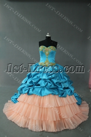 Aqua Floor-Length Taffeta 2012 Quinceanera Dress for Plus Size IMG-0343