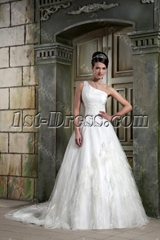 Asymmetrical Neckline Long A-line Bridal Gown 2013 with Feather GG1077