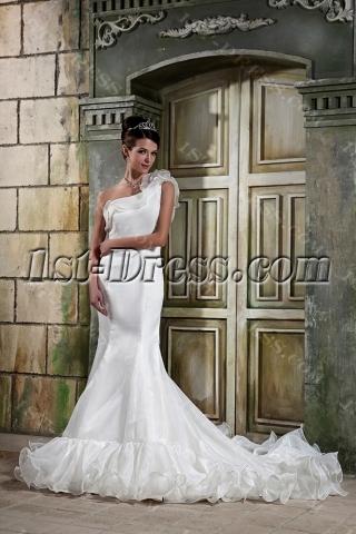 Asymmetrical Neckline Mermaid Bridal Gowns GG1073
