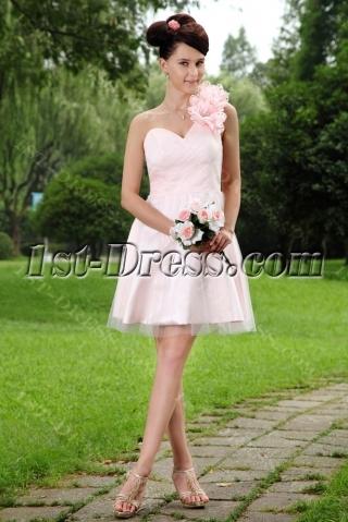 Baby Pink Floral One Shoulder Sweet 15 Dress Short IMG_0918