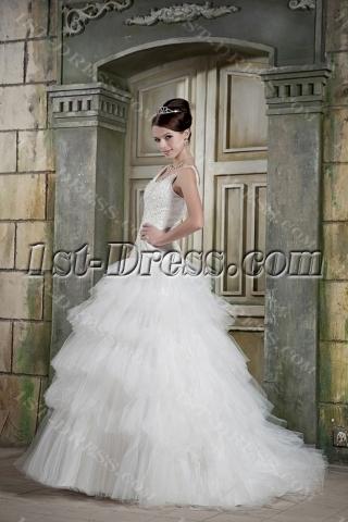 Beaded Scoop Neck Beautiful Wedding Dresses with Drop Waist GG1074