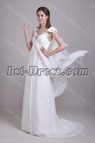 Beautiful Chiffon Maternity Wedding Dress with V-neckline IMG_0723