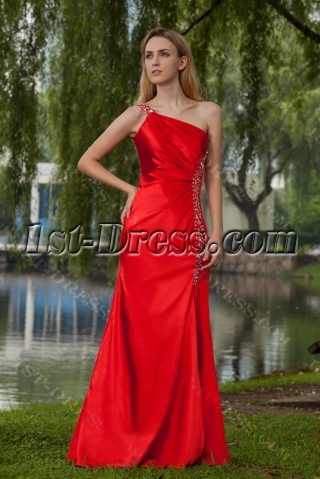 Beautiful Red Sexy Evening Dress with One Shoulder IMG_7927