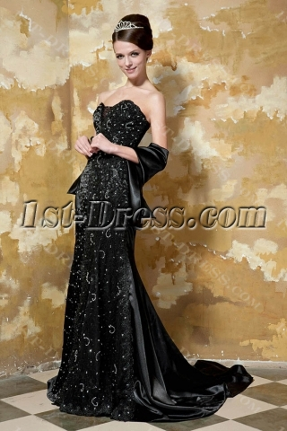 Luxurious Black Sweetheart Long Evening Gown GG1047