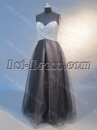 Black A-Line Floor Length Satin Tulle Plus Size Prom Dress 0421