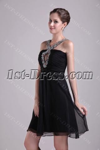 Black Halter Chiffon Maternity Cocktail Dress 0995