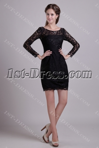 Black Lace Short Mother of Brides Gowns with Long Sleeves 0937