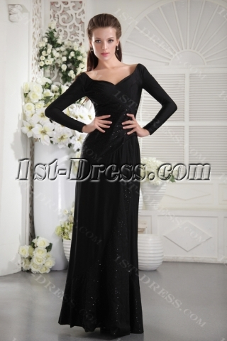 Black Long Sleeves Modest Evening Dress IMG_9904