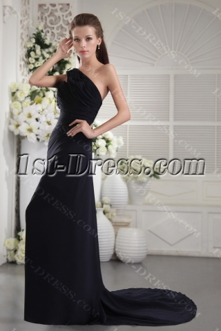 Black One Shoulder with Open Back Sexy Evening Gown IMG_9870