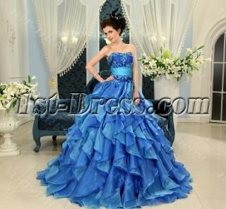Blue Floor-Length Satin Organza 2013 Quinceanera Dress H-111