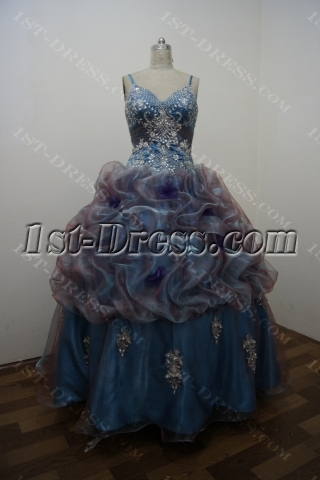 Blue Floor Length Satin Organza Plus Size Ball Gown Dress 2897