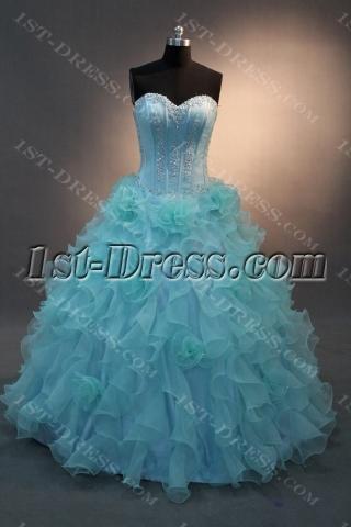 Blue Floor-Length Satin Organza Quinceanera Dress IMG_0173