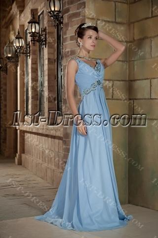 Blue Long Maternity Formal Prom Dress GG1010