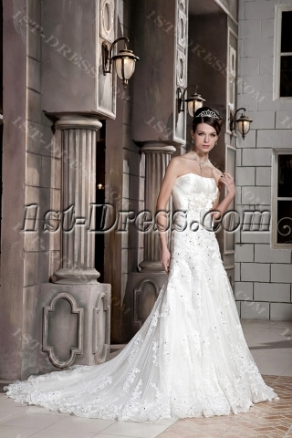 Brilliant Long Strapless Lace Bridal Gown 1088