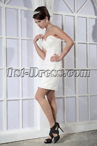 Brilliant White Sequins Mini Graduation Dress GG1025