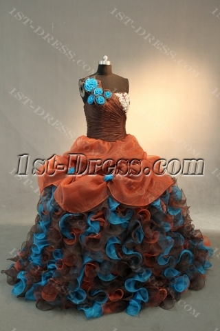 Brown Princess Strapless Sweetheart Satin Organza Quinceanera Dress IMG_0522