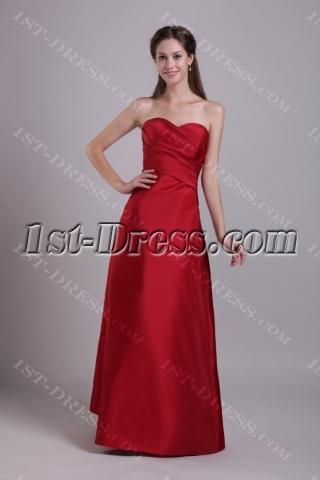 Burgundy Long Sweetheart Junior Bridesmaid Gown 0754