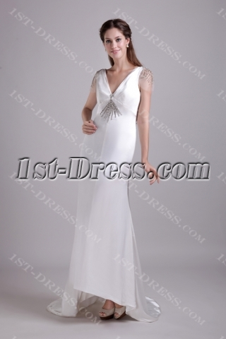 Cap Sleeves Western Bridal Gown with Backless 0857