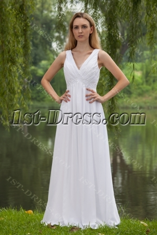 Casual Simple Empire Bridal Gown with V-neckline IMG_7876