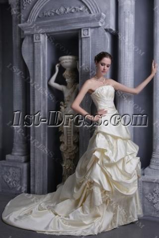 Champagne Brilliant Elegant Bridal Gowns 1052