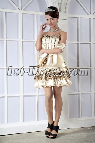 Champagne Modest Cute Short Sweet 16 Dress with Print Leopard GG1069