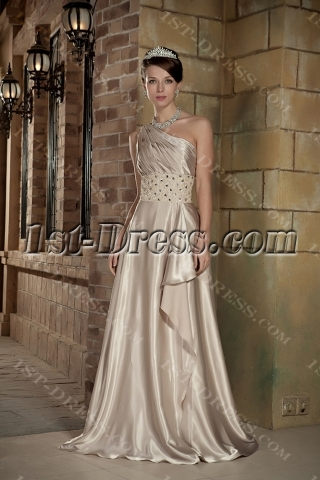Champagne One Shoulder Military Ball Prom Dresses with Shawl GG1008