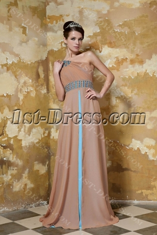 Champagne and Blue Long One Shoulder Modest Evening Dress with Shawl GG1045