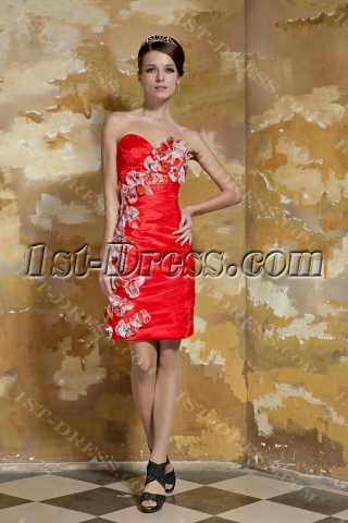 Cheap Red Short Cocktail Dresses with Colorful Floral for Teenagers GG1053