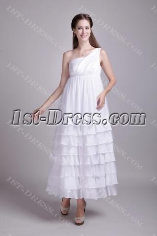Chiffon One Shoulder Maternity Bridal Party Dresses IMG_0643