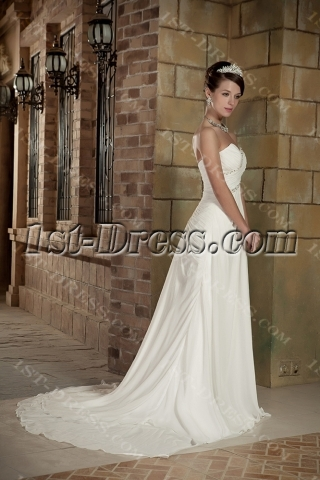 Chiffon Sweetheart Beach Wedding Dress Mature Bride GG1007